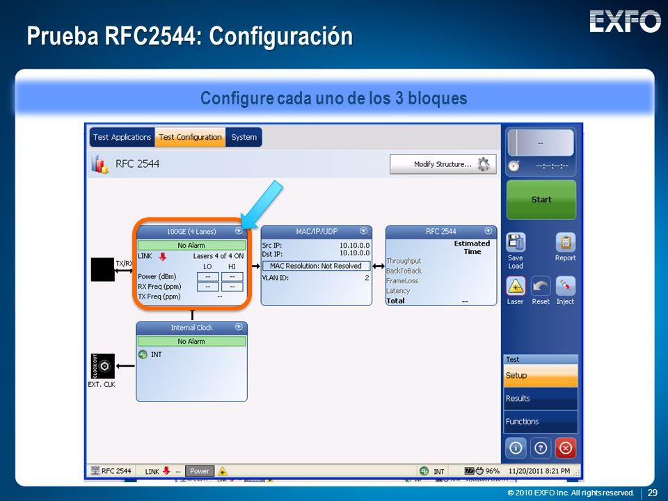Prueba RFC2544: Configuración