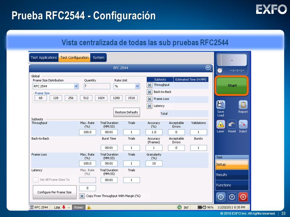 Prueba RFC2544 - Configuración