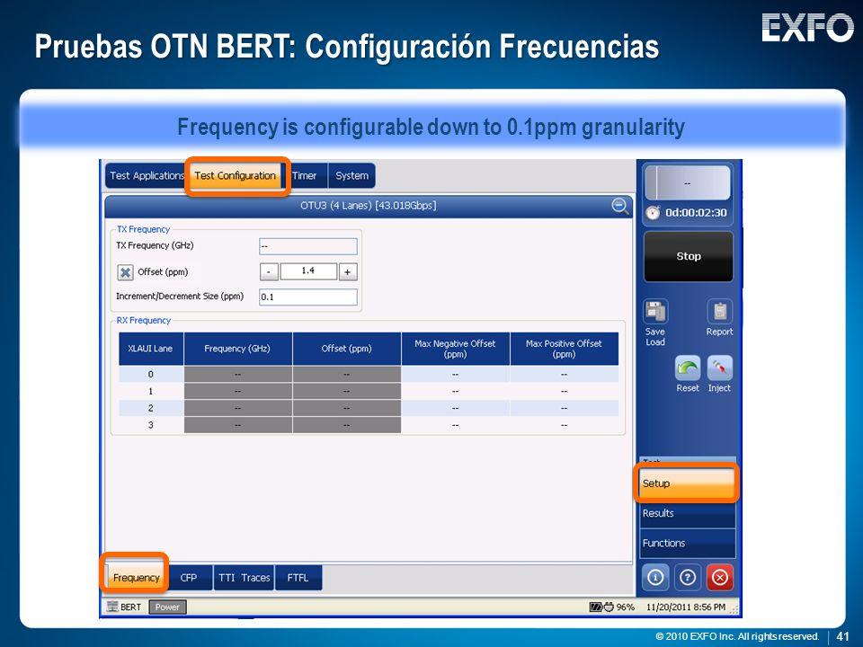 Pruebas OTN BERT: Configuración Frecuencias