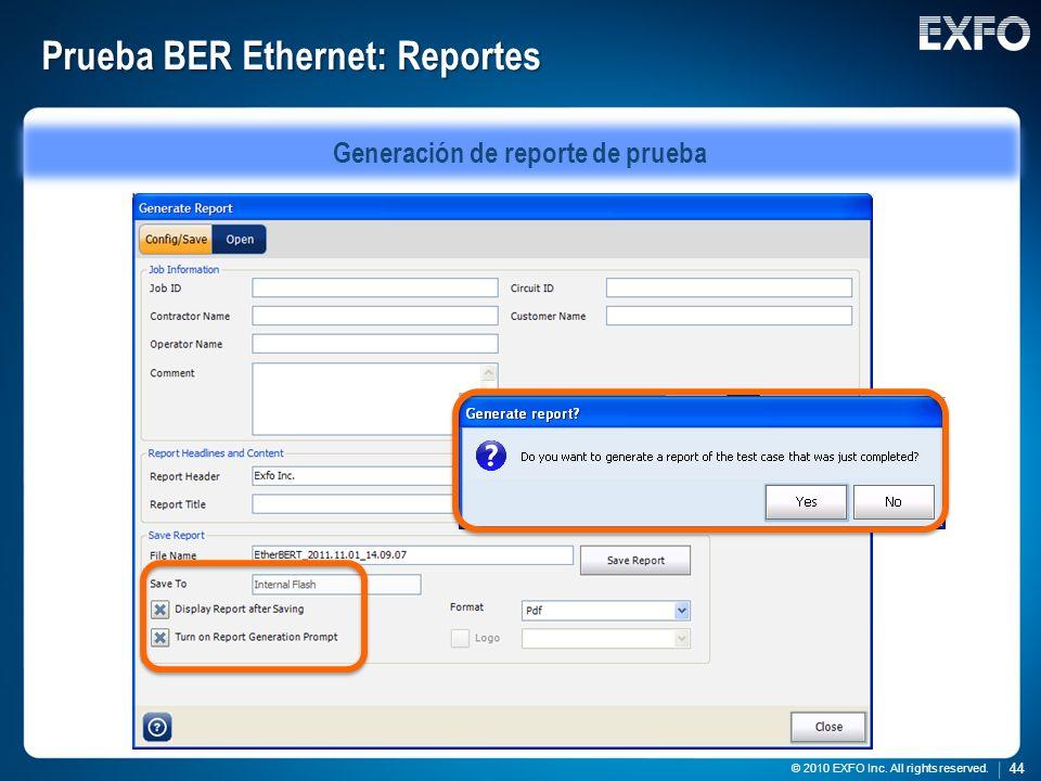 Prueba BER Ethernet: Reportes