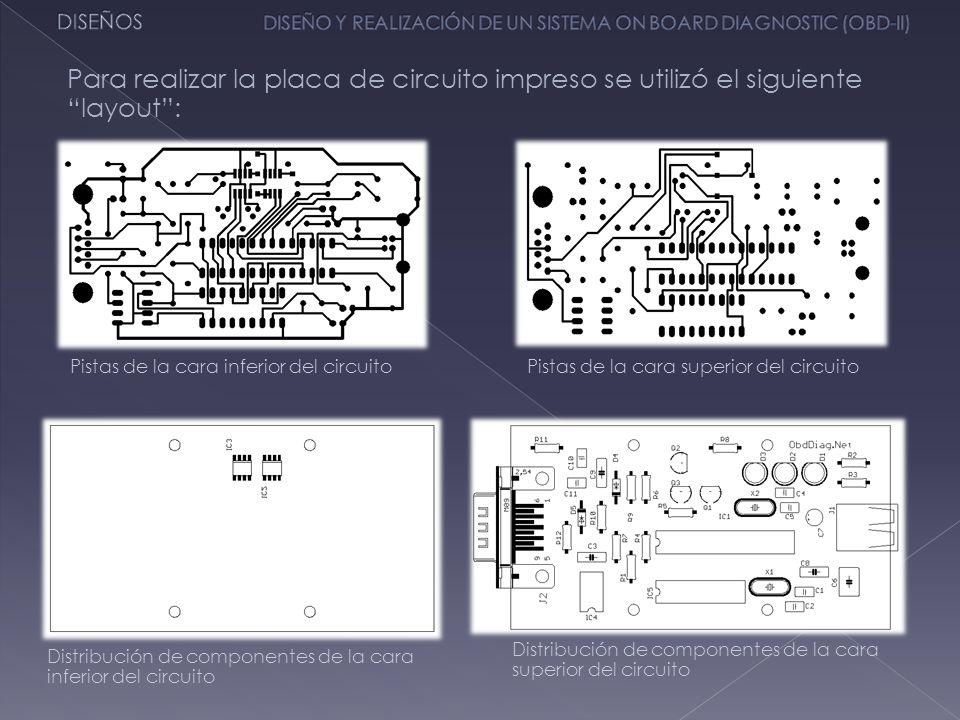 DISEÑOS DISEÑO Y REALIZACIÓN DE UN SISTEMA ON BOARD DIAGNOSTIC (OBD-II) Para realizar la placa de circuito impreso se utilizó el siguiente layout :