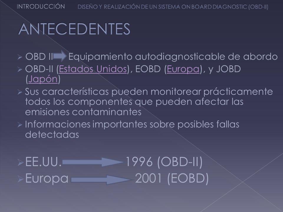 ANTECEDENTES EE.UU. 1996 (OBD-II) Europa 2001 (EOBD)