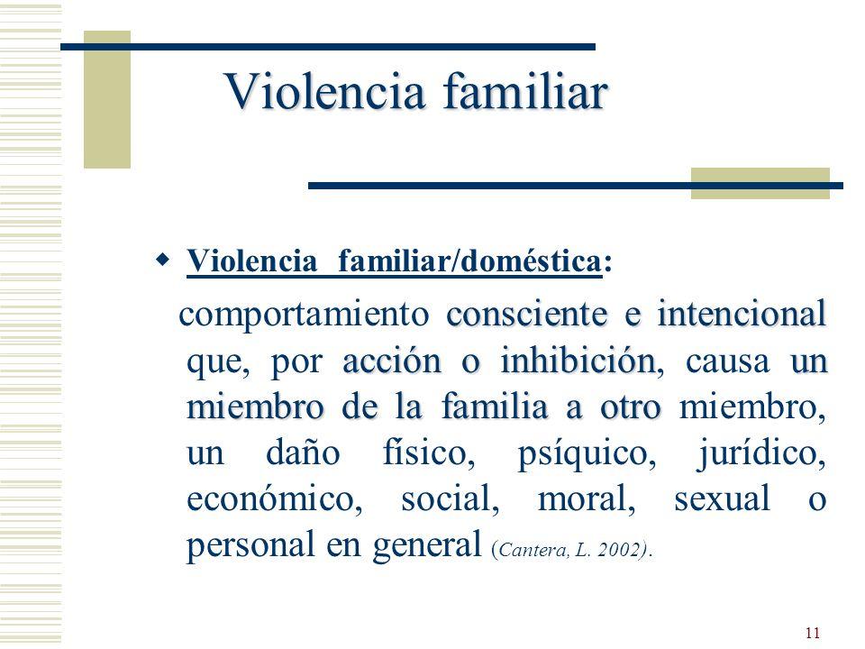 Violencia familiar Violencia familiar/doméstica: