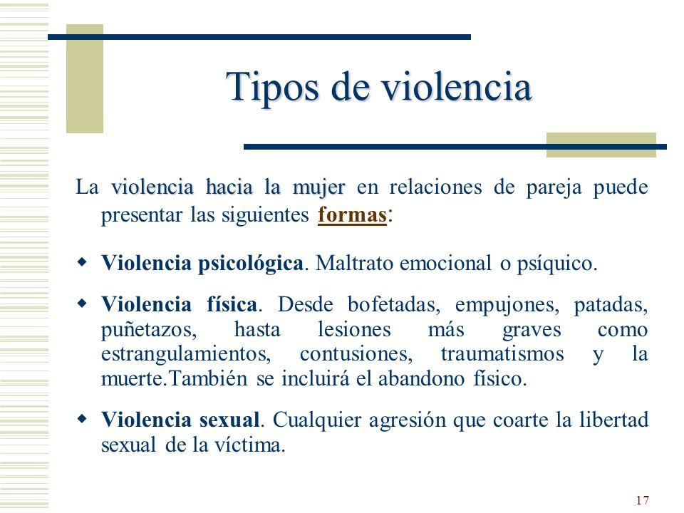 Tipos de violencia La violencia hacia la mujer en relaciones de pareja puede presentar las siguientes formas: