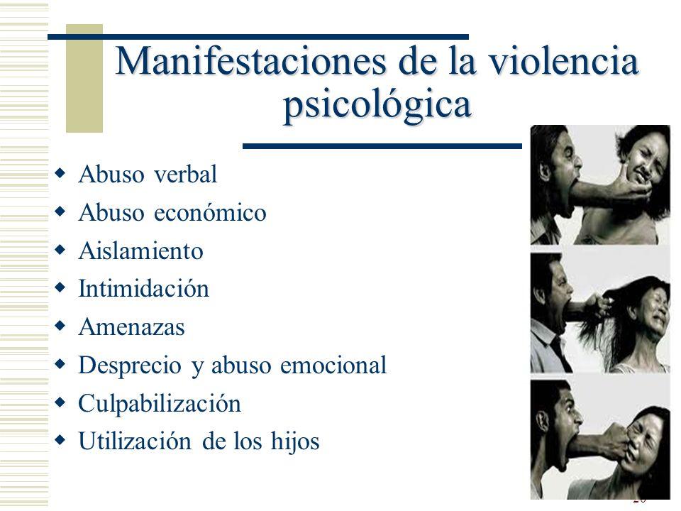Manifestaciones de la violencia psicológica