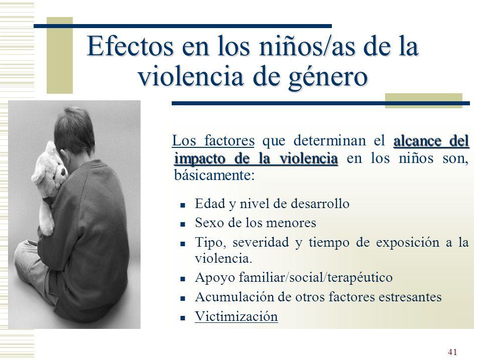 Efectos en los niños/as de la violencia de género
