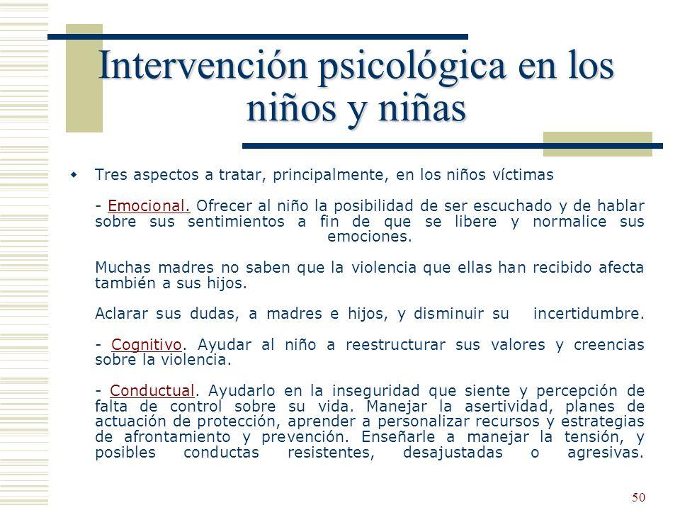 Intervención psicológica en los niños y niñas