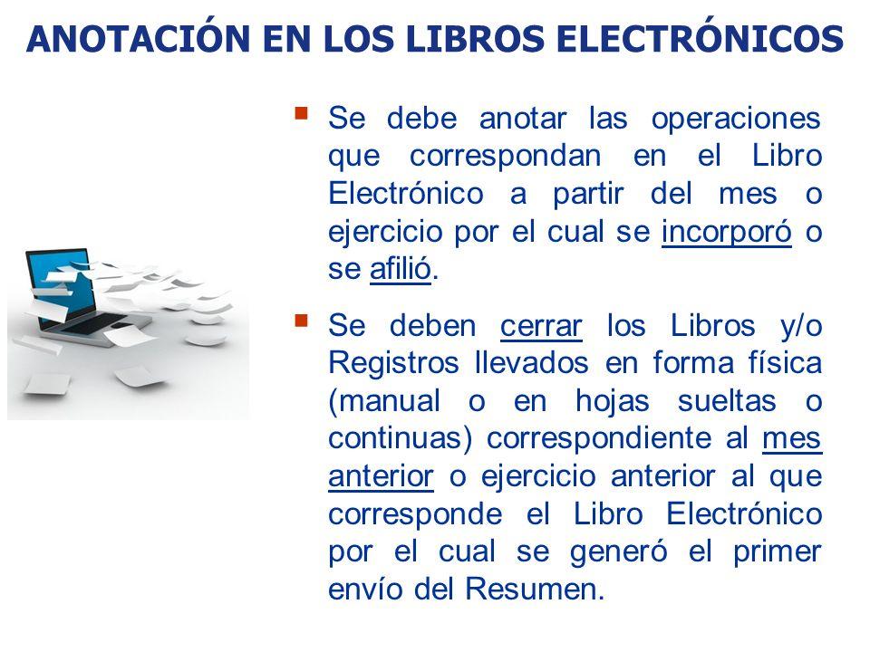 ANOTACIÓN EN LOS LIBROS ELECTRÓNICOS