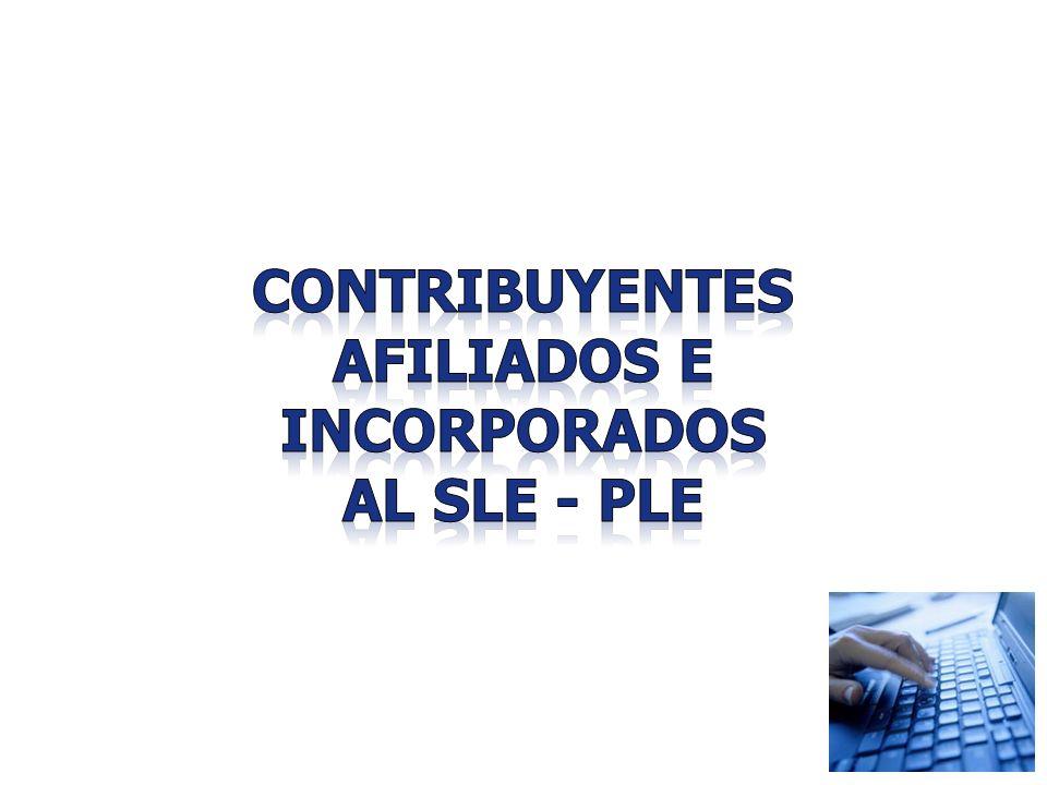 CONTRIBUYENTES AFILIADOS E INCORPORADOS AL SLE - PLE
