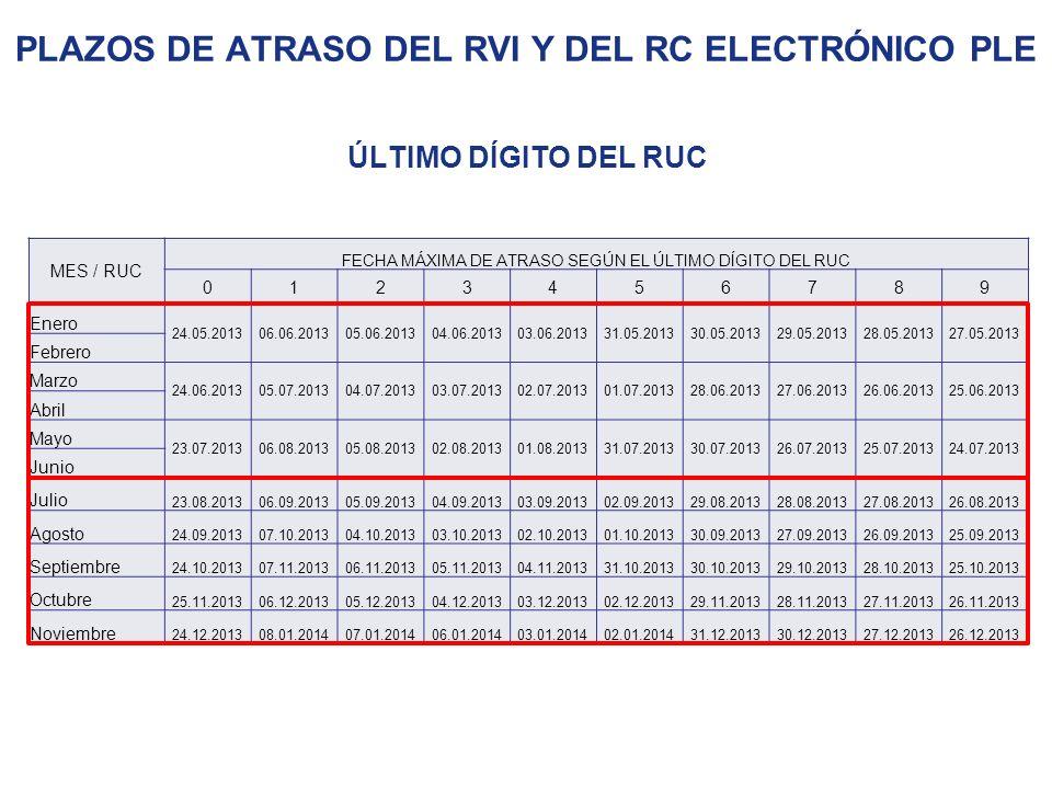 Plazos de atraso del RVI y del RC Electrónico ple