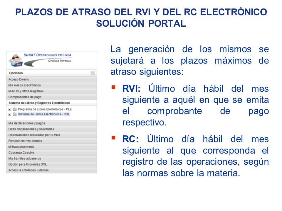 Plazos de atraso del RVI y del RC Electrónico solución portal