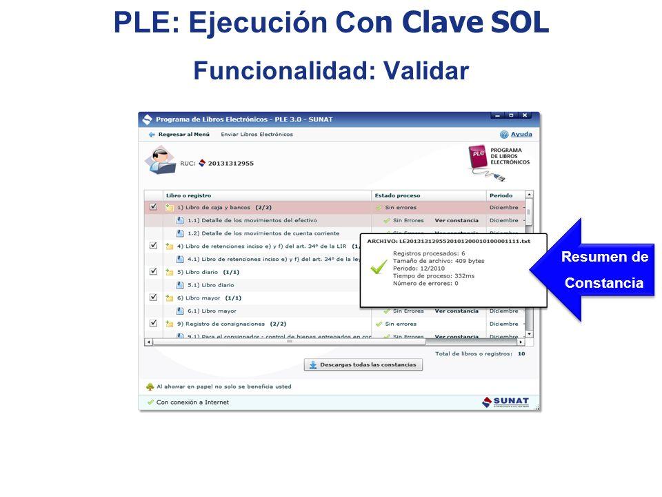 PLE: Ejecución Con Clave SOL Funcionalidad: Validar