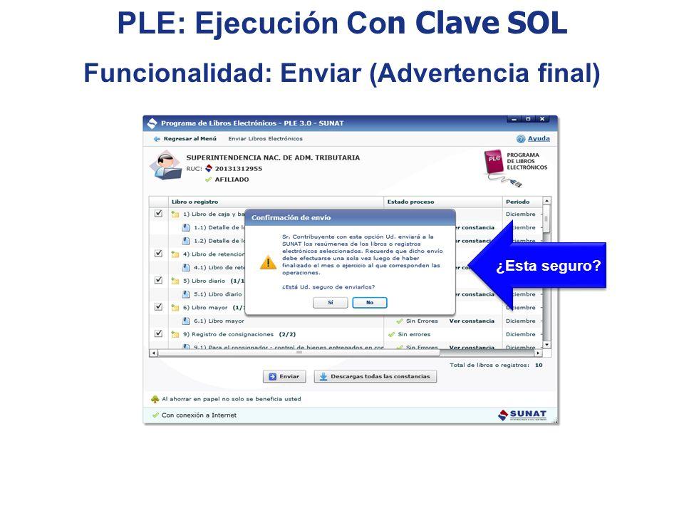 PLE: Ejecución Con Clave SOL Funcionalidad: Enviar (Advertencia final)