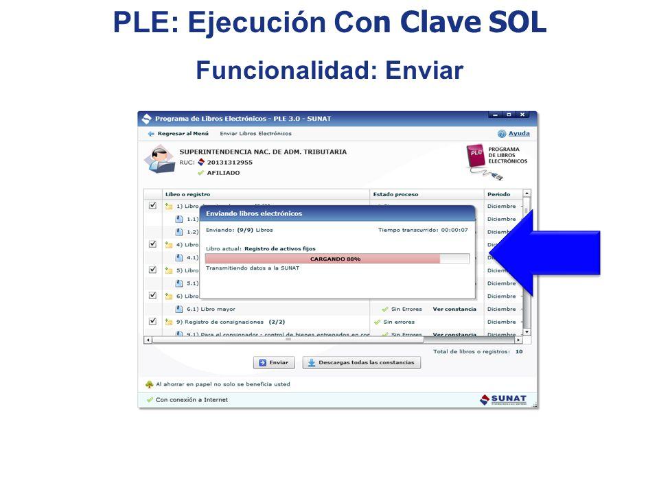 PLE: Ejecución Con Clave SOL Funcionalidad: Enviar