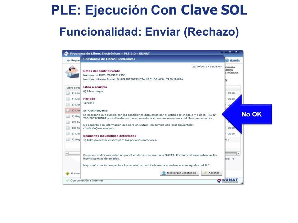 PLE: Ejecución Con Clave SOL Funcionalidad: Enviar (Rechazo)