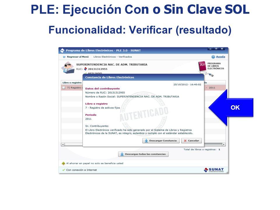 PLE: Ejecución Con o Sin Clave SOL