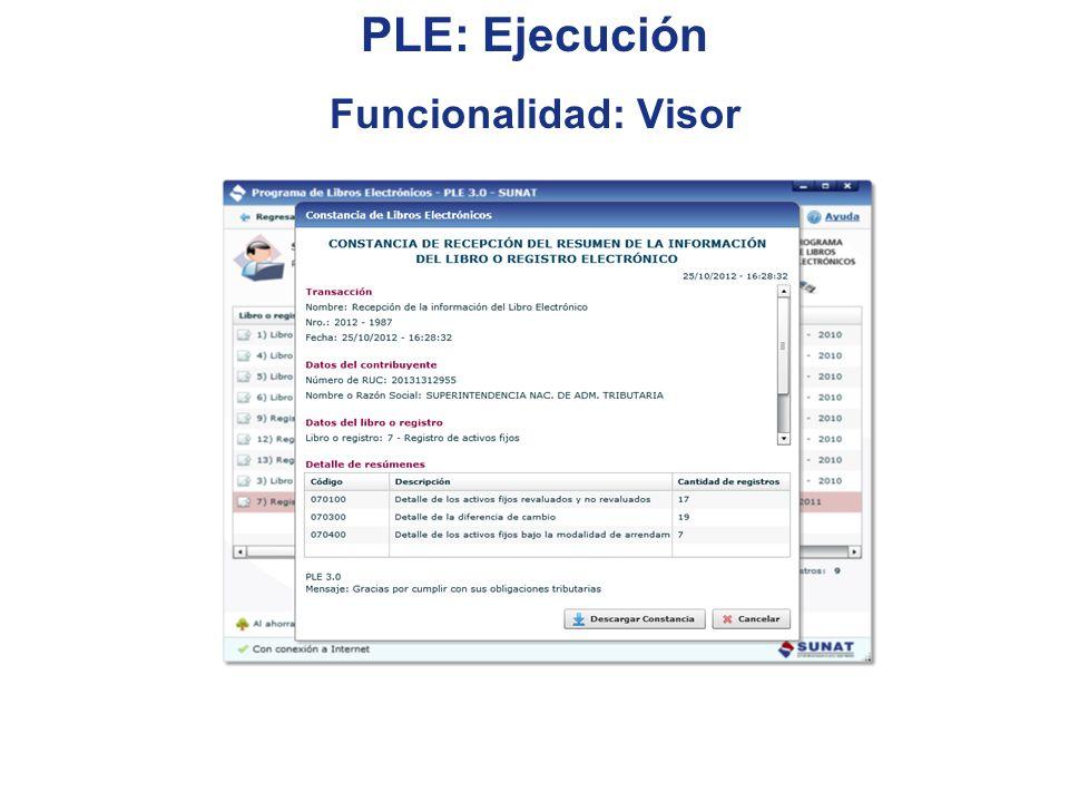PLE: Ejecución Funcionalidad: Visor