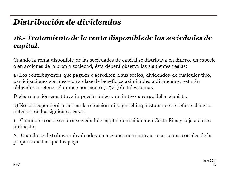 Distribución de dividendos 18