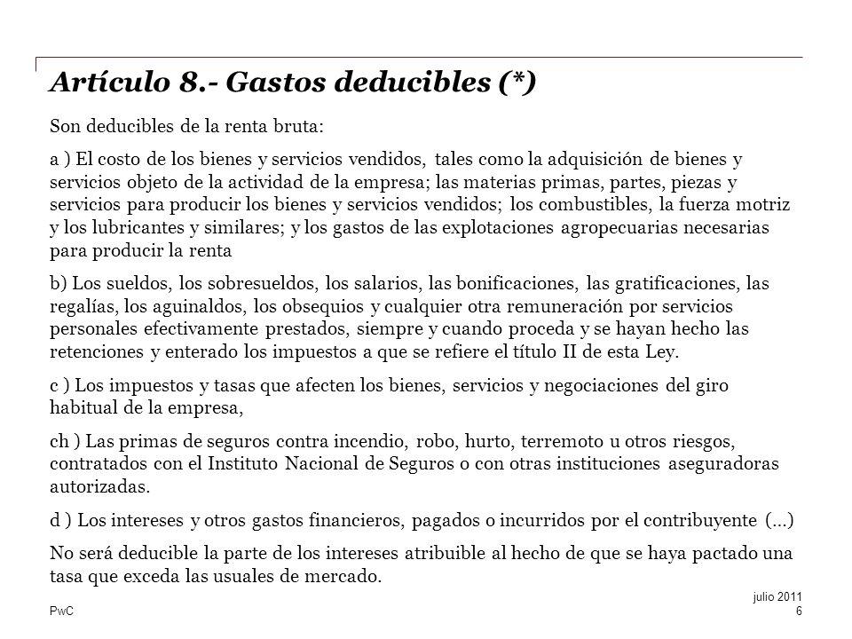 Artículo 8.- Gastos deducibles (*)