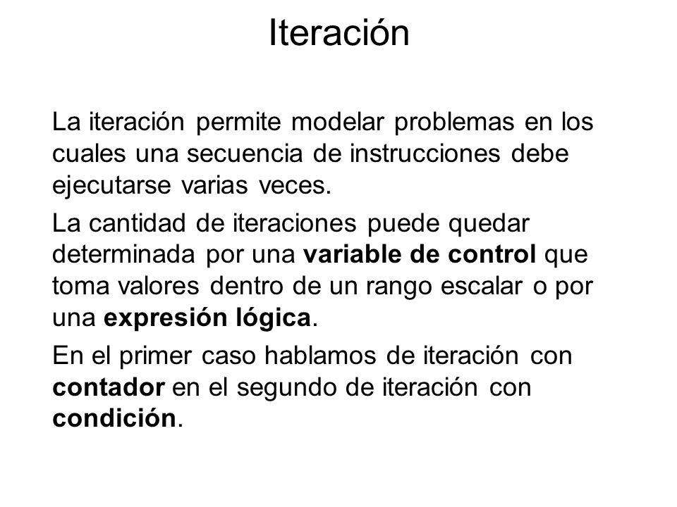 IteraciónLa iteración permite modelar problemas en los cuales una secuencia de instrucciones debe ejecutarse varias veces.