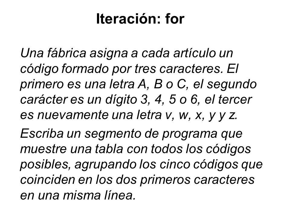 Iteración: for