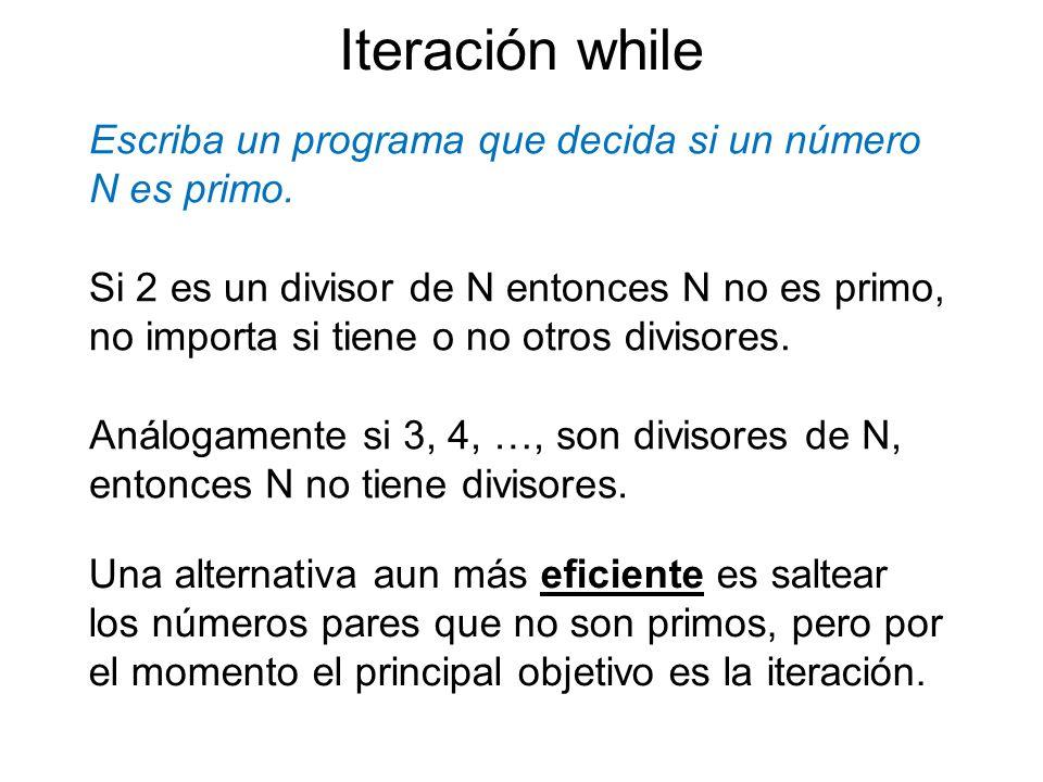Escriba un programa que decida si un número N es primo.