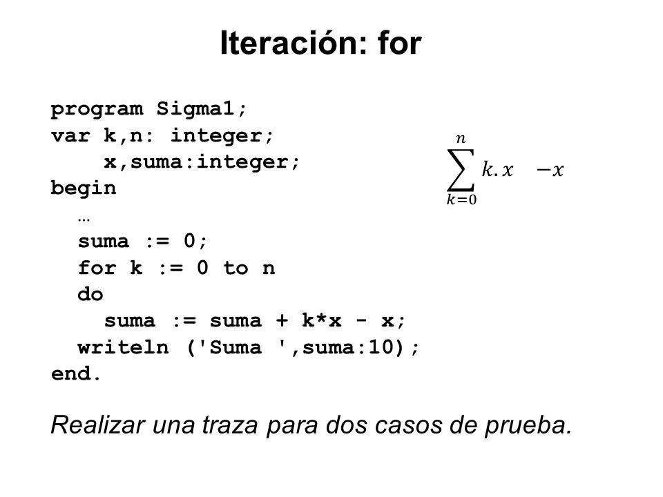 Iteración: for Realizar una traza para dos casos de prueba.