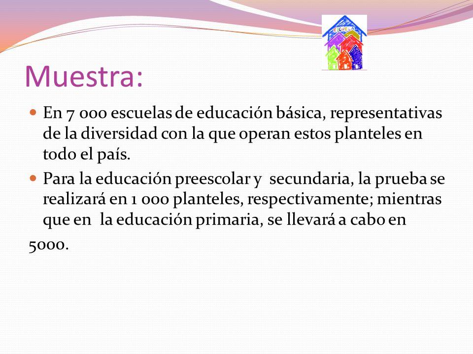 Muestra: En 7 000 escuelas de educación básica, representativas de la diversidad con la que operan estos planteles en todo el país.