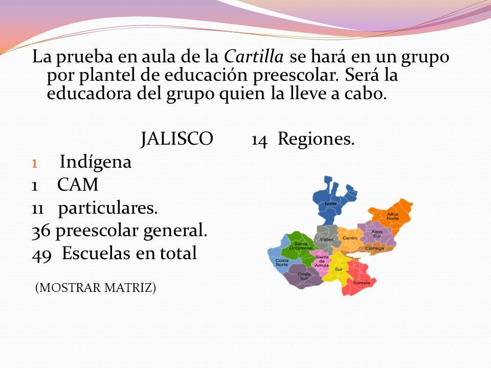 La prueba en aula de la Cartilla se hará en un grupo por plantel de educación preescolar. Será la educadora del grupo quien la lleve a cabo.