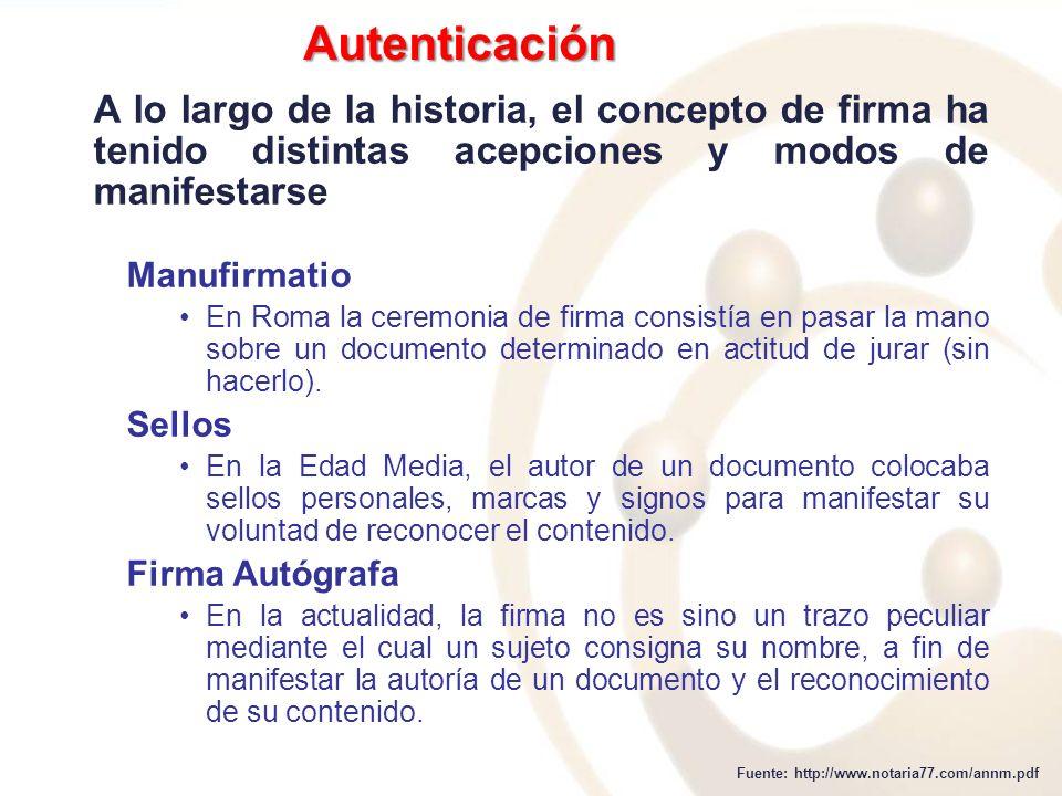 Autenticación A lo largo de la historia, el concepto de firma ha tenido distintas acepciones y modos de manifestarse.