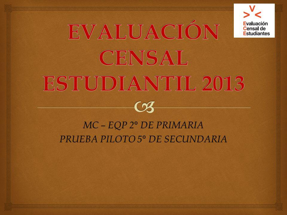 EVALUACIÓN CENSAL ESTUDIANTIL 2013