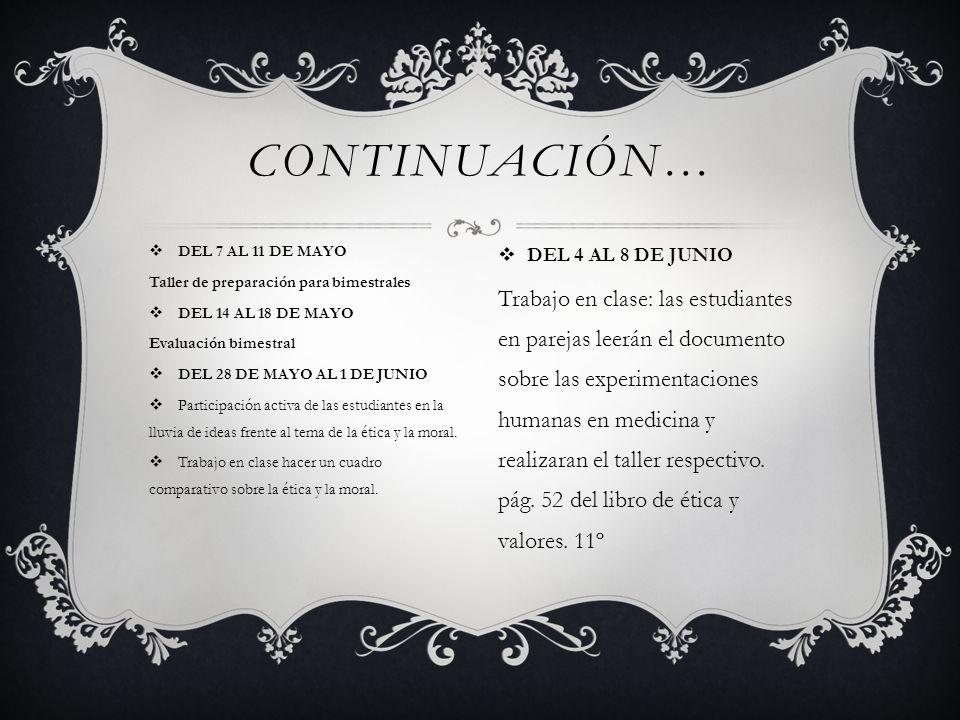 CONTINUACIÓN… DEL 7 AL 11 DE MAYO. Taller de preparación para bimestrales. DEL 14 AL 18 DE MAYO. Evaluación bimestral.