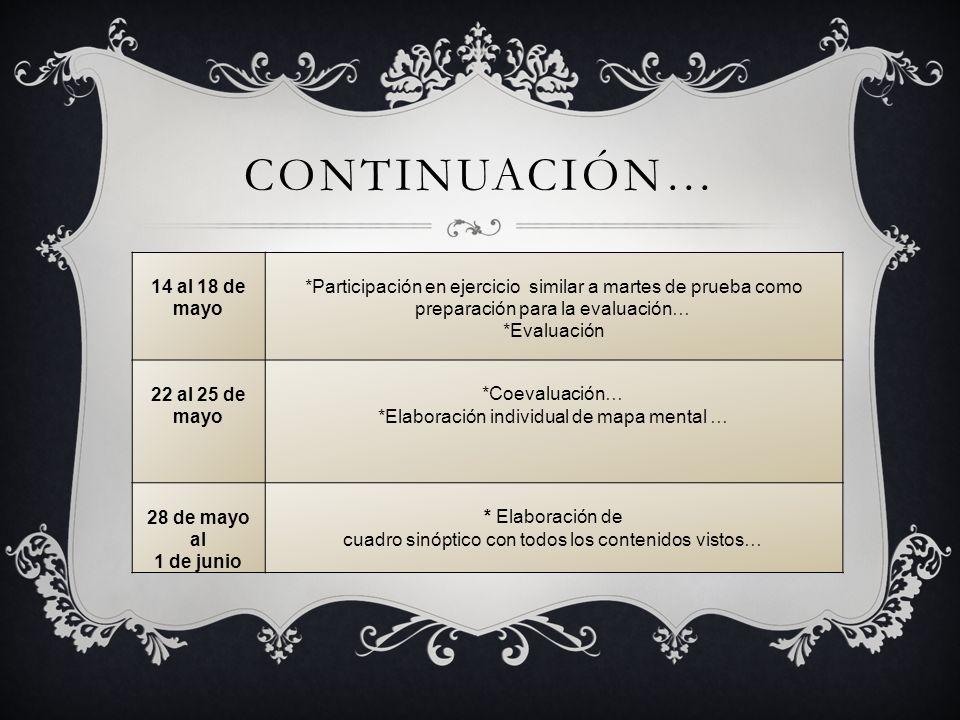 CONTINUACIÓN… 14 al 18 de mayo