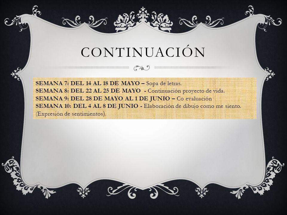 CONTINUACIÓN SEMANA 7: DEL 14 AL 18 DE MAYO – Sopa de letras.