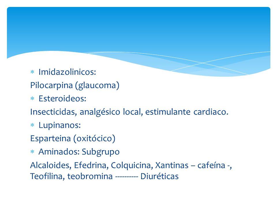 Imidazolinicos: Pilocarpina (glaucoma) Esteroideos: Insecticidas, analgésico local, estimulante cardiaco.