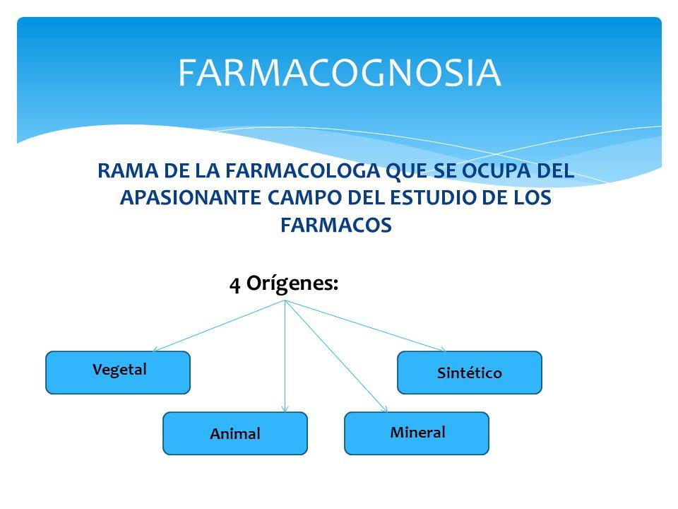 FARMACOGNOSIA RAMA DE LA FARMACOLOGA QUE SE OCUPA DEL APASIONANTE CAMPO DEL ESTUDIO DE LOS FARMACOS.