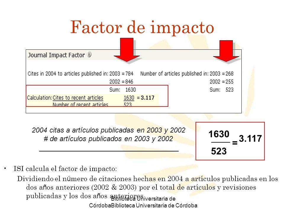 Factor de impacto2004 citas a artículos publicadas en 2003 y 2002. # de artículos publicados en 2003 y 2002.