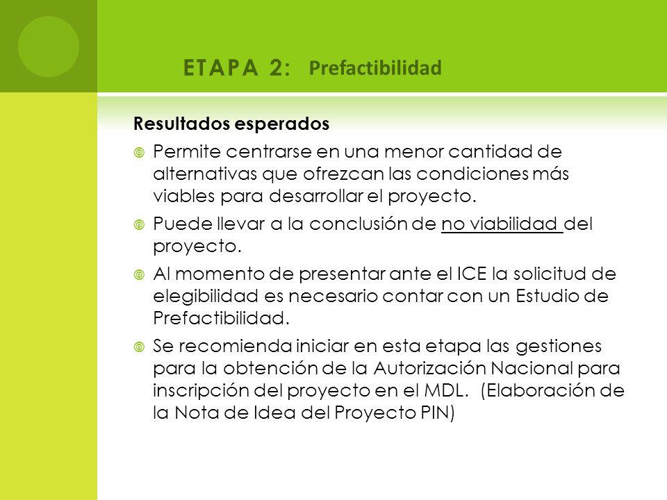 ETAPA 2: Prefactibilidad Resultados esperados