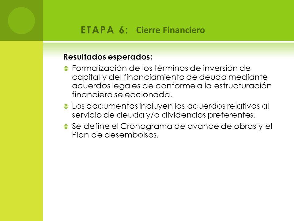 ETAPA 6: Cierre Financiero Resultados esperados: