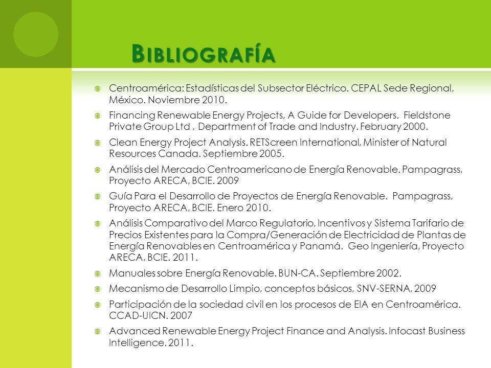 Bibliografía Centroamérica: Estadísticas del Subsector Eléctrico. CEPAL Sede Regional, México. Noviembre 2010.