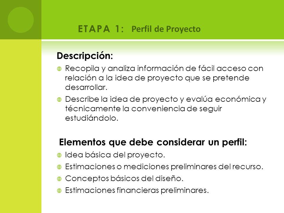 ETAPA 1: Perfil de Proyecto Descripción: