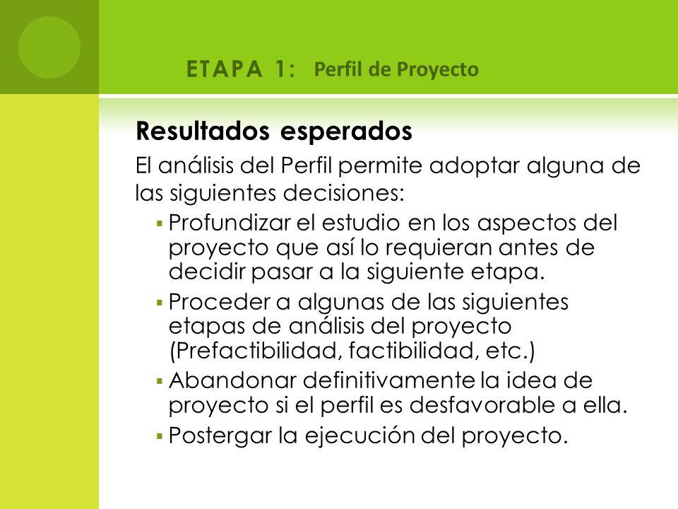 Resultados esperados ETAPA 1: Perfil de Proyecto