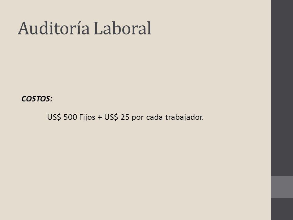 Auditoría Laboral COSTOS: US$ 500 Fijos + US$ 25 por cada trabajador.