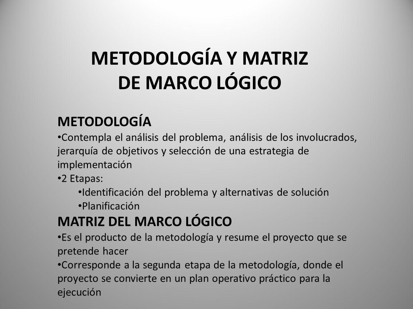 METODOLOGÍA Y MATRIZ DE MARCO LÓGICO