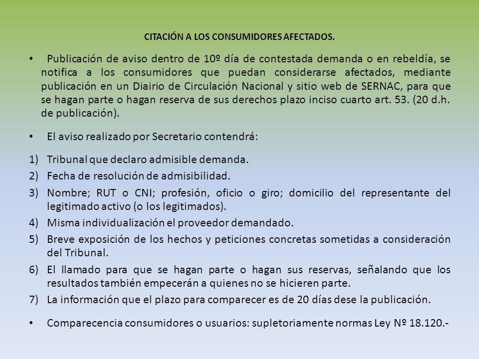 CITACIÓN A LOS CONSUMIDORES AFECTADOS.