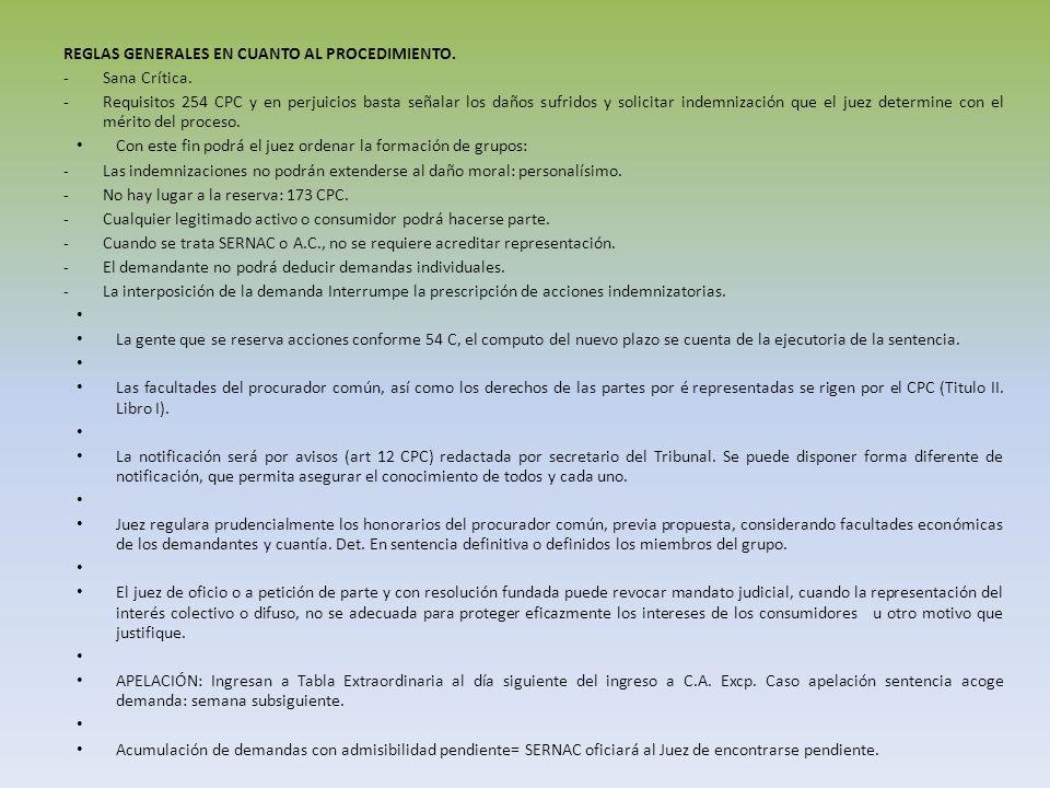 REGLAS GENERALES EN CUANTO AL PROCEDIMIENTO.
