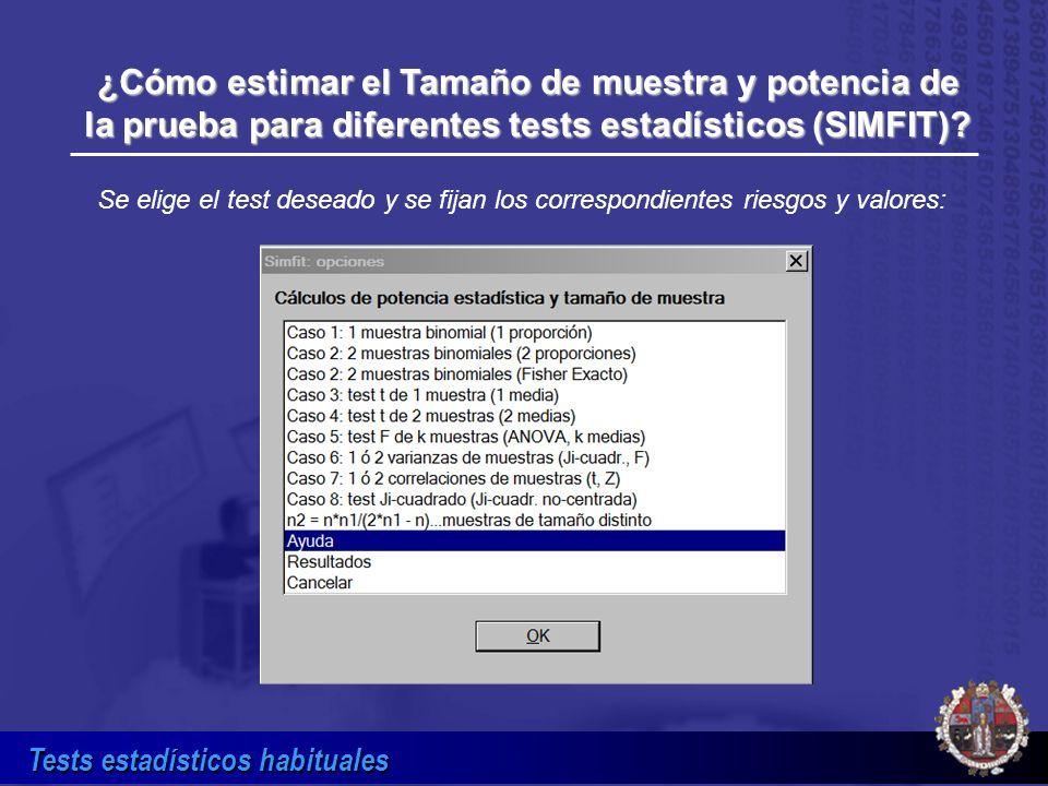 ¿Cómo estimar el Tamaño de muestra y potencia de la prueba para diferentes tests estadísticos (SIMFIT)