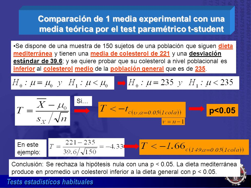 Comparación de 1 media experimental con una media teórica por el test paramétrico t-student