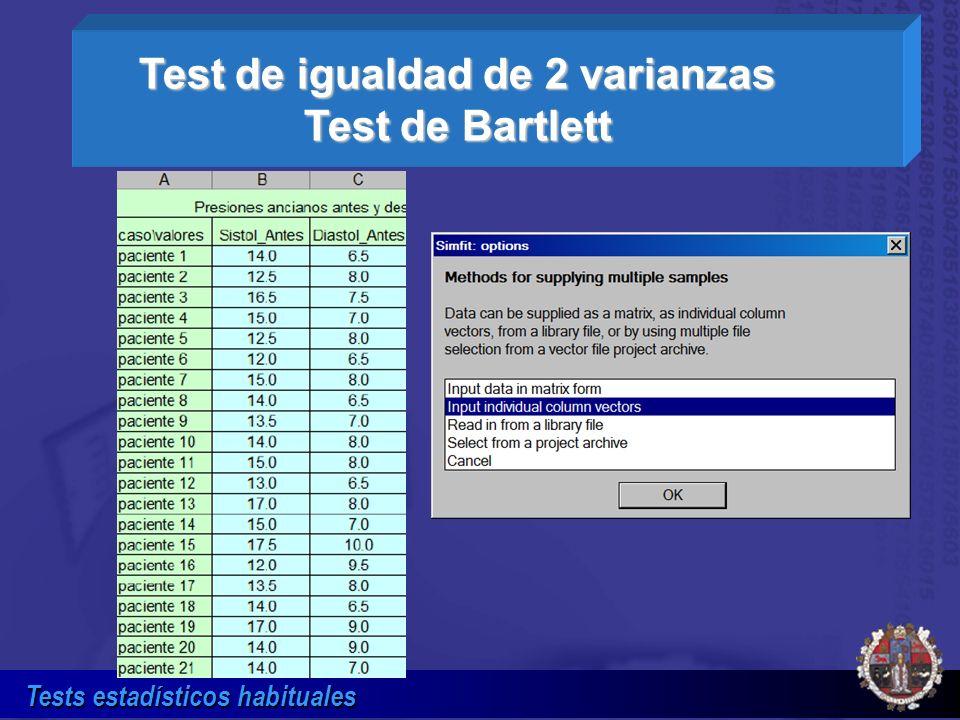 Test de igualdad de 2 varianzas Test de Bartlett