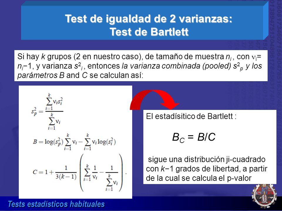 Test de igualdad de 2 varianzas: Test de Bartlett